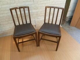 2 x Slat Back Leather Base Kitchen Dining Table Chairs Delivery Available