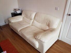 Cream leather 3+1 suite