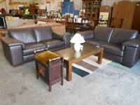 Barker and Stonehouse immaculate 2 and 3 seater Brown leather sofa