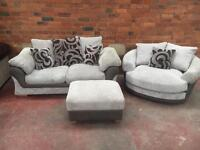 Harvey's Ex Display Sofa + Cuddle Chair + Footstool - UK Delivery
