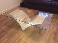 Uranie Coffee Table with Fine Mactan Stone Base and Glass Top