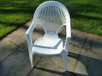 Set of 4 high back white garden chairs - Allibert brand. One damaged.