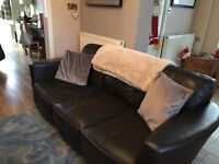 Brown leather 3/4 seater sofa