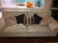 Cream Leather Sofa and Chaise Lounge