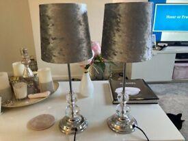 Two silver bedside velvet lamps