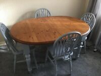 Up cycled pine table and chairs