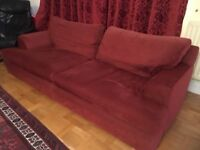Lovely red 3-4 seat sofa and matching chair