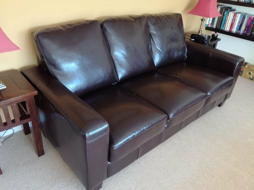 Brown 3 Seater Faux Leather Sofa For Sale In Brighton East Sussex