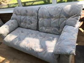 3 seater blue/cream patterned fabric sofa , collect bishopstoke