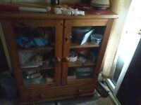 REAL PINE DISPLAY CABINET WITH 3 LARGE SHELVES AND LARGE BOTTOM DRAWER GREAT CONDITION
