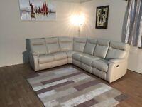 Ex-display Jemima cream leather half standard and electric recliner corner sofa