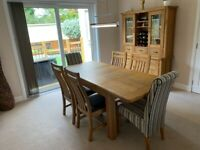 Oak Dining Set - Extending Table, Chairs & Cabinet