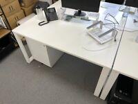 Unite White Bench Desk - Square Legs (1600mm x 800mm)