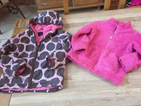 Girls Mini Boden Coat and zip up Fleece Age 5-6