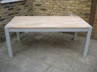 Lovely Large Solid Oak Kitchen / Dining Table, 180 cm long - Frame and legs painted in F&B Eggshell