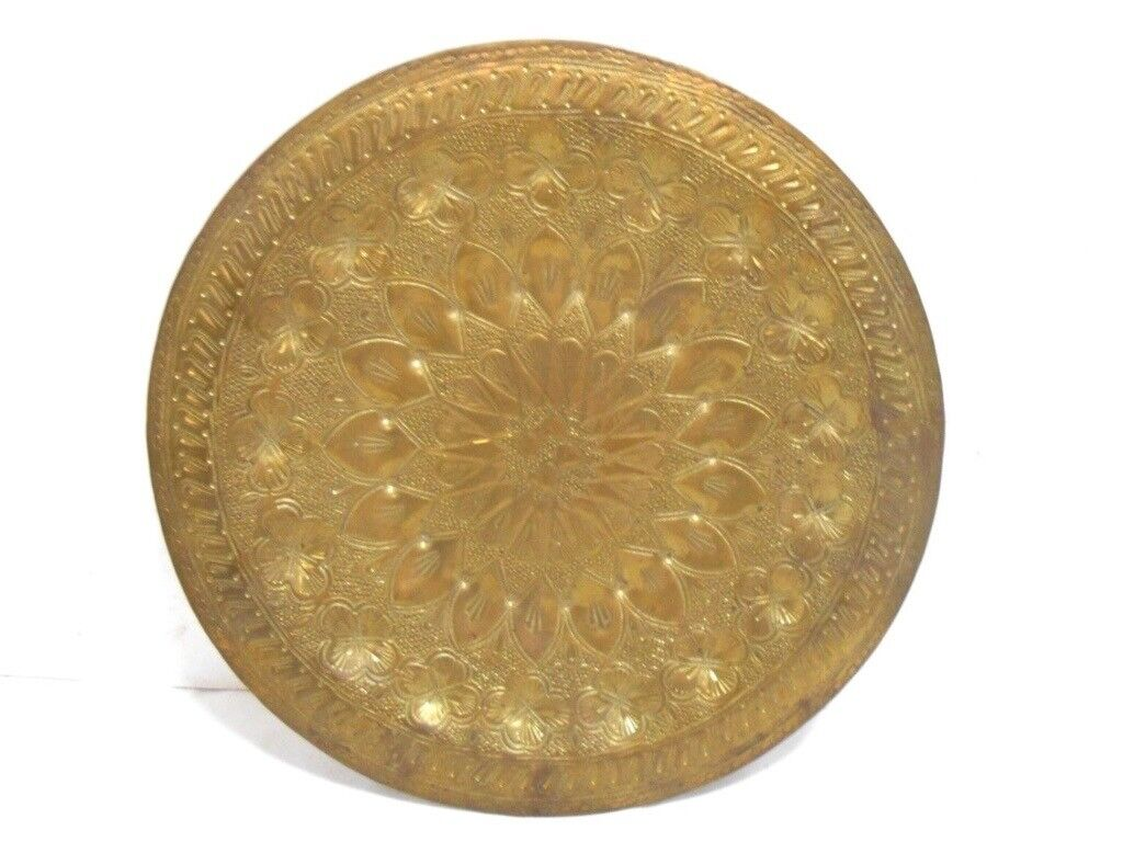 Brass decorative wall hanging plate with floral design-£7 | in East ...