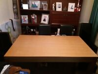 Gorgeous wood table with 6 faux leather chairs