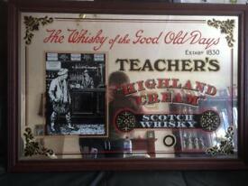 Vintage Teachers whiskey mirror