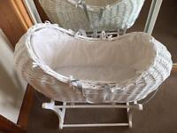 Mamas and papas white wicker Moses basket