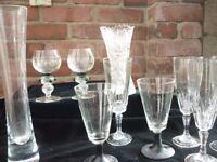 Vintage Selection of Glass, 2 vase and a milk jug