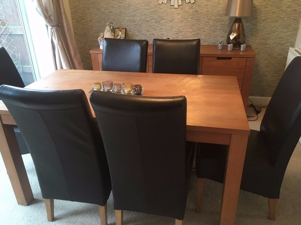 Dining room furniture - 6 seater Oak Table, chairs, sideboard and cube