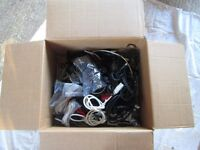 A HUGE box of mixed cables - power cables, USBs, power adapters, ADSL Filters, Scarts, Stereo etc.
