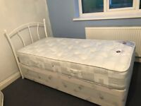 Single bed with 2 storage drawers and mattress