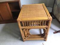 Threesome of retro bamboo nesting tables