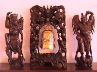 Antique Japanese / Chinese wood carved warrior/ samurai figues and arch with bell 1890's