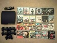 PS3 Slim 250GB + 24 Games + 5 Controllers
