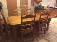 Pine Kitchen/ Dining table with 6 chairs - £120 o.n.o