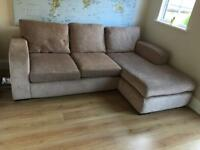 Beige corner sofa and arm chair