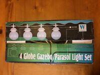 4 White Globe Gazebo/Parasol Light Set