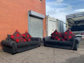Black fabric sofas x2 delivery 🚚 sofa suite couch furniture
