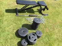 Gym weights dumbbells and bench