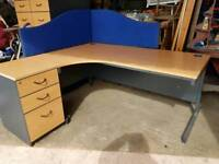 HUGE OFFICE DESK AND FILING CABINET CHAIR ETC