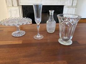 Chrystal Vases & Cake Stand / Vintage / Boho / Antique Wedding