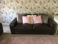 3 and 2 seater sofas-brown leather great condition-£60
