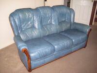 Teal Leather 3 Seat Sofa & Armchair