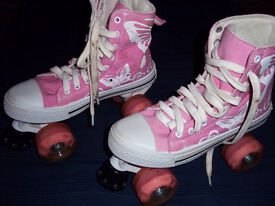 L.A. STYLE PINK BASEBALL ROLLER BOOTS SIZE 4