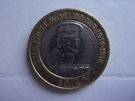 2014 LORD KITCHENER FIRST WORLD WAR 1914-1918. £2.00. COIN. THE COIN HAS BEEN IN CIRCULATION.