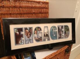 'Photos in a Word' photo frame, saying 'Engaged'