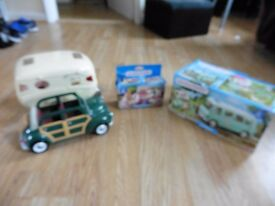 Sylvanian Families sweet shop, caravan and camper van