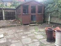 Large Garden Shed, VG Condition with wooden workbench and wall mounted cupboards for sale in Tooting