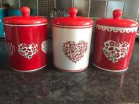 Brand new tea, coffee sugar ceramic canisters.