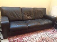 FREE brown Italian leather sofa
