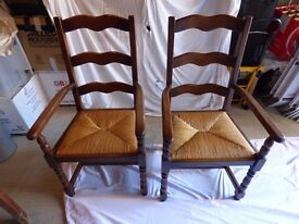 Pair of French Oak Carver Chairs