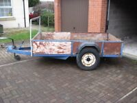 "Large Trailer 2m 35.5cm x 1m 34.5cm (7ft 9"" x 4ft 5"") In need of some TLC, 1 tyre has puncture"