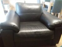 DFS black leather sofa and one matching chair