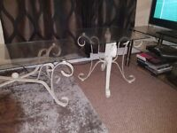 2 glass and metal frame coffee tables for sale